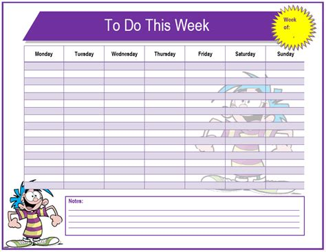 weekly list template pics for gt weekly to do list template
