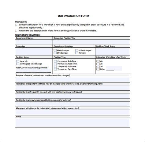 sle job evaluation 9 documents in word pdf