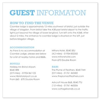 Wedding Invitation Information Card by Invite Insert Question