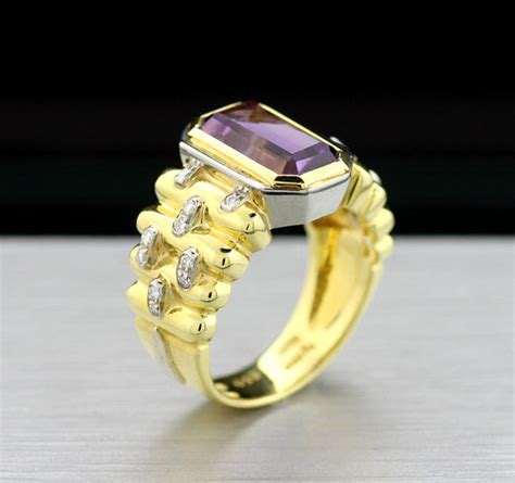No Gold At Goldsmiths by Amethyst Brilliant Ring Solid Goldsmith Work In 750