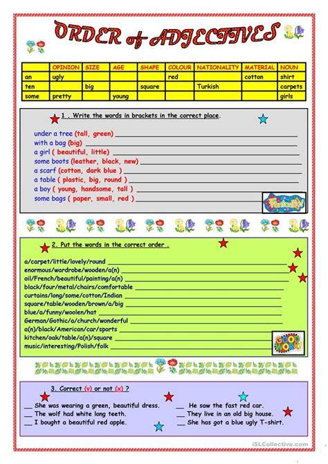 esl order of adjectives worksheet order of adjectives worksheet free esl printable worksheets made by teachers