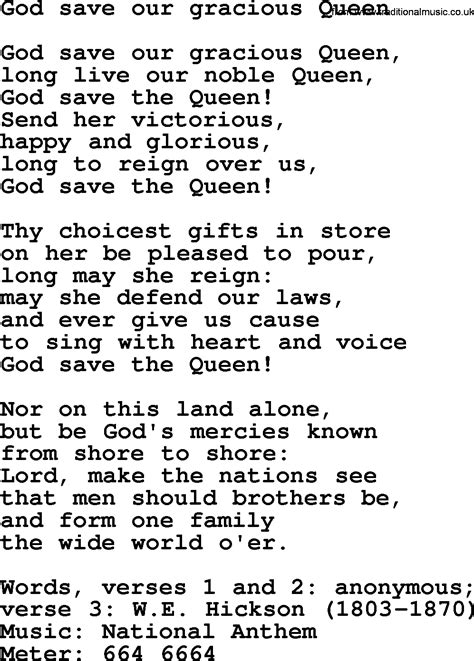 ~ God Save Our Gracious Queen lyrics ~ uses the same