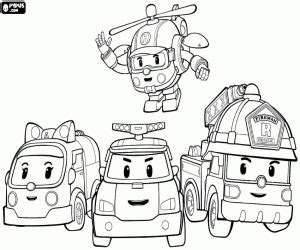 The Protagonists Of Robocar Poli Coloring Page sketch template