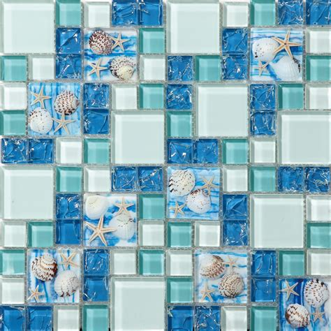 sea glass mosaic tile bathroom tst glass conch tiles beach style sea blue glass tile