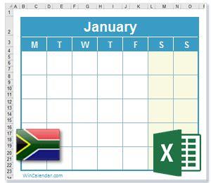 excel calendar  za holidays