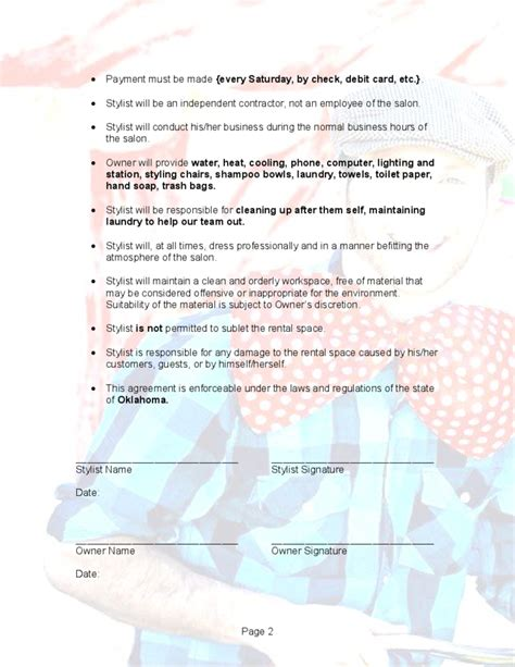 hair salon agreement hair salon booth rental agreement free download