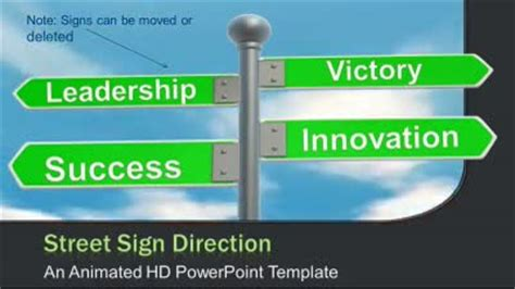 Street Sign Direction A Animated Powerpoint Template From Presentermedia Com Direction Signs Template