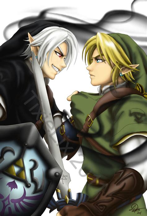 zelda link with black hair dark link vs link by tixielix on deviantart