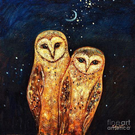 Constellation Duvet Cover Starlight Owls Painting By Shijun Munns