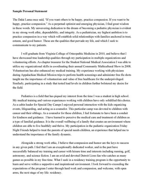 Personal Statement Essay For College Sle by Personal Statement Random