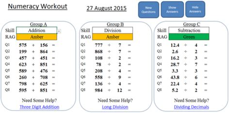 numeracy workout addition subtraction multiplication