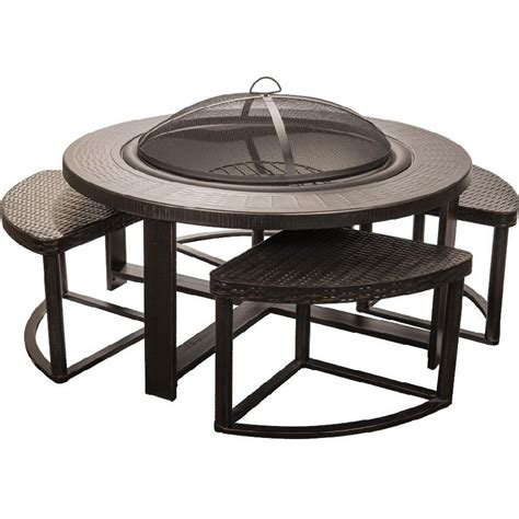 Patio Table With Firepit Alpine 4 Person Cast Aluminum Patio Conversation Set With Pit Table Shopperschoice