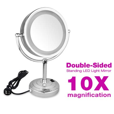 Magnifying Bathroom Mirror With Light 8 5 Inch Side Makeup Magnifying Bathroom Mirror With Led Light 10x Ebay