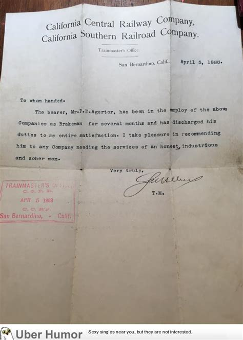 Reference Letter Joke Pretty Interesting A Reference Letter From 1888