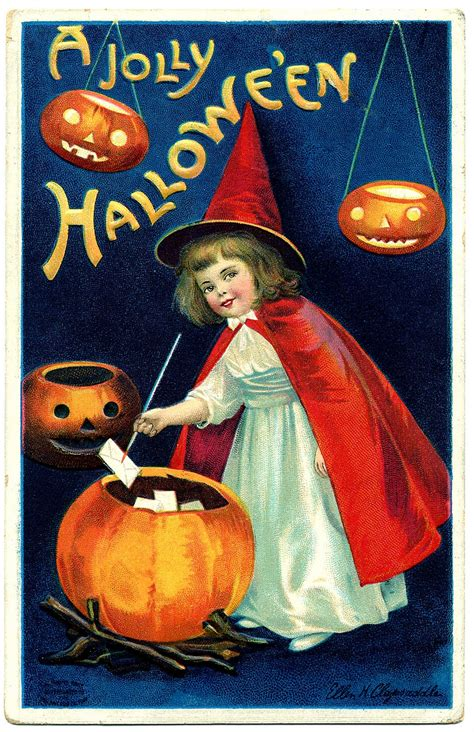 vintage halloween clip art sweet  witch girl  graphics fairy