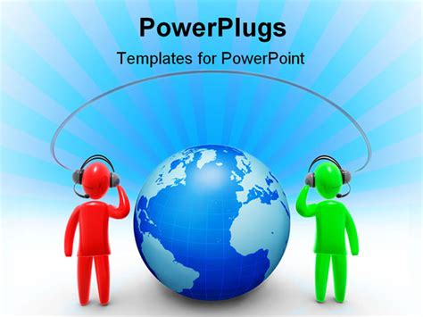 powerpoint templates for communication presentation two communicating around world using connection powerpoint template background of