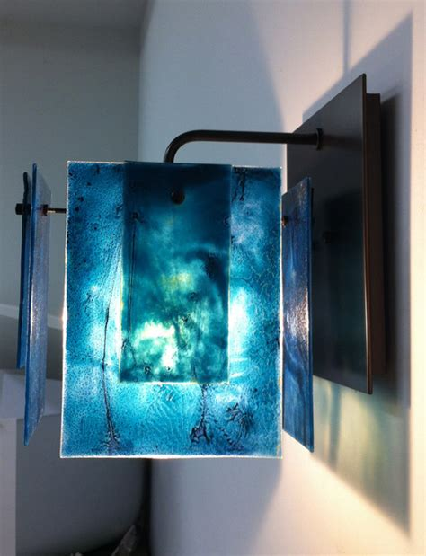 Glass Wall Sconce Custom Aqua Glass Wall Sconce Contemporary Seattle