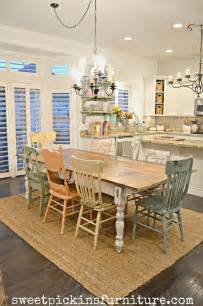 Shabby chic table and mismatched chairs makeover