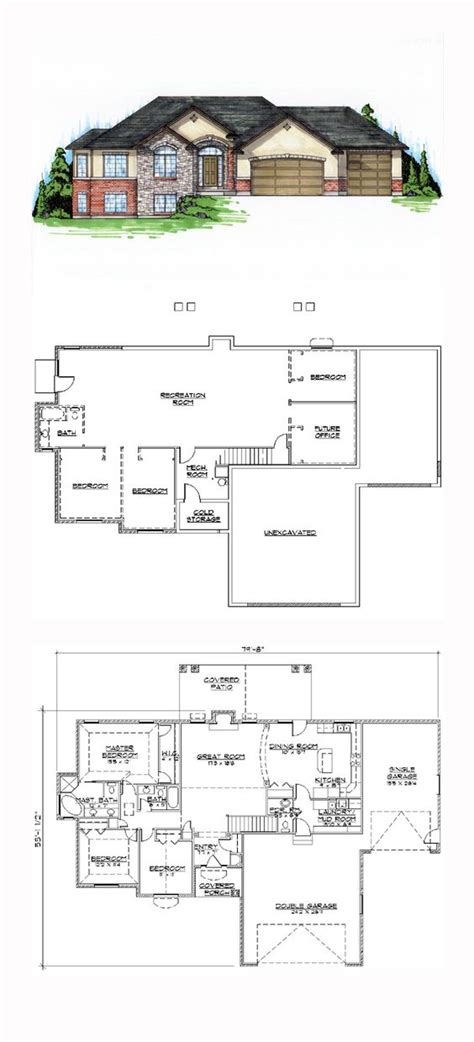 house plans with finished basements finished basement cool house plan id chp 44955 total living area 1837 sq ft 5 bedrooms