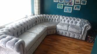 Chesterfield Corner Sofas Crushed Silver Velvet Chesterfield Corner Sofa In Mill End Hertfordshire Gumtree
