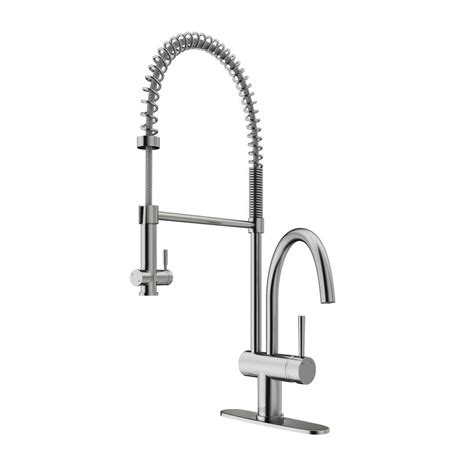 kitchen faucet deck plate vigo single handle pull sprayer kitchen faucet with deck plate in stainless steel