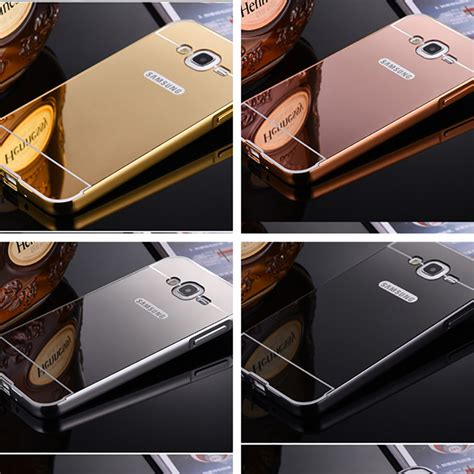 Alumunium Bumper Samsung J7 aluminium metal bumper slide back with mirror cover