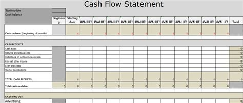 format of cash flow statement in excel caclubindia excel template cash flow gallery template design ideas