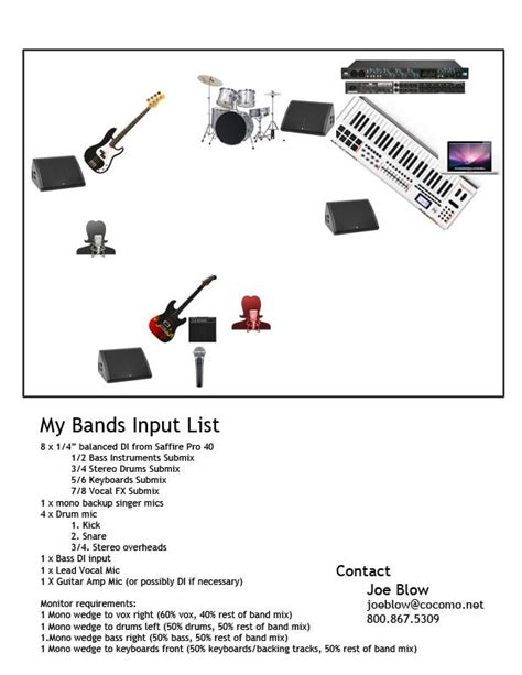 technical rider template band how to make an input list stage plot and tech rider