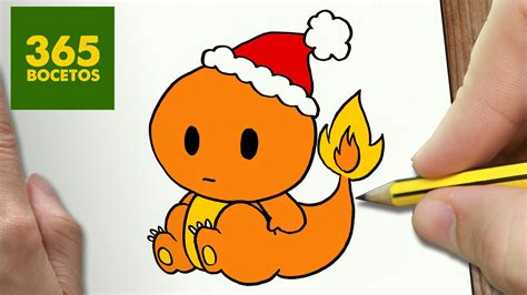 imagenes de navidad kawai como dibujar a charmander para navidad paso a paso