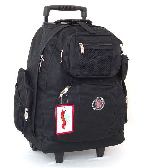18 quot wheeled backpack roomy rolling book bag w handle carry on luggage back pack ebay