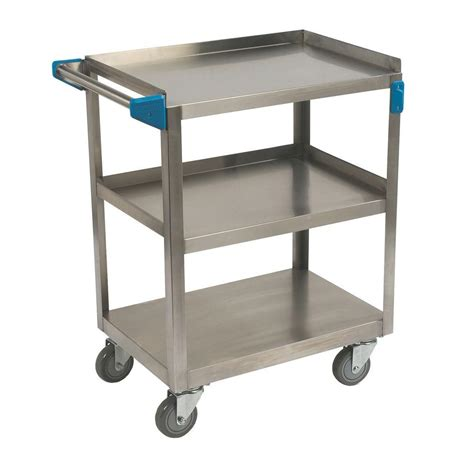 carlisle 300 stainless steel 3 shelf utility cart