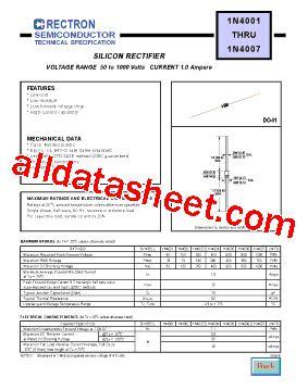 1n4007 diode datasheet 1n4007 datasheet pdf rectron semiconductor