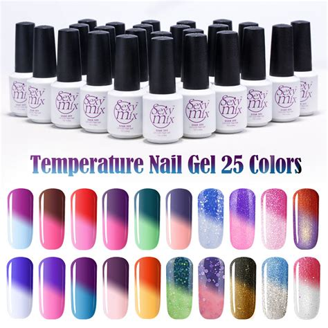 gel color changing nail mix temperature change chameleon make up color