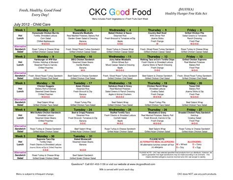 Daycare Food Menu Template by Day Care Menu Images Menu Ideas
