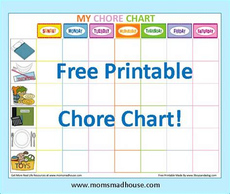7 best images of free printable chore charts blank