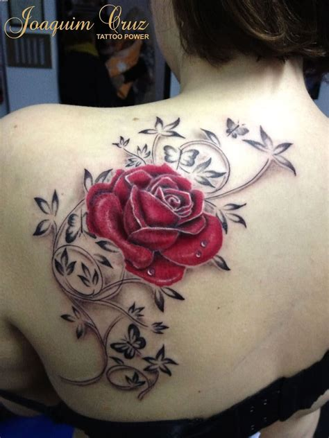 rose vine butterfly tattoo lovely and vine tattoos on back shoulder tattoobite