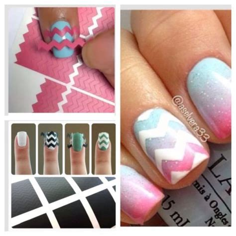nails tutorial zig zag chevron zig zag nail art stencils cute nails pinterest