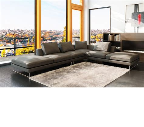 Modern Gray Leather Sofa Dreamfurniture 5051 Modern Bonded Leather Grey Sectional Sofa