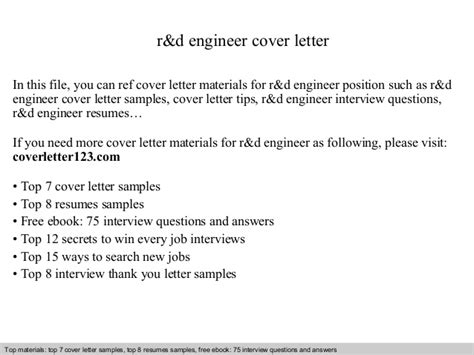 Intel Component Design Engineer Cover Letter by R D Engineer Cover Letter