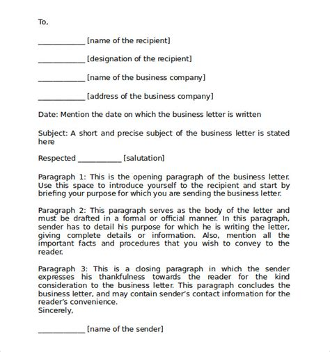 Business Letter Format Opening Sle Format For Business Letter 7 Free Documents In Pdf Word