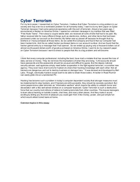 Cyber Terrorism Essay by Cyber Terrorism