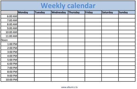 weekly calendar template with times calendar templates weekly calendar template 2016