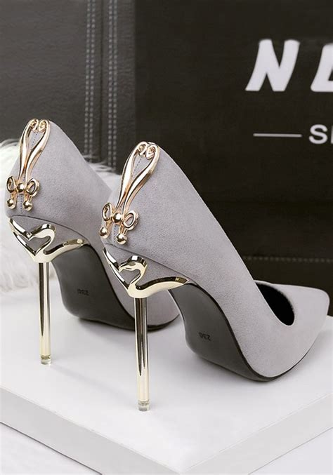 metal high heel shoes grey point toe stiletto metal decoration fashion high