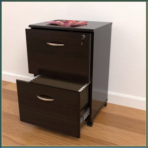 Contemporary Home Office with Small Black Filing Cabinet