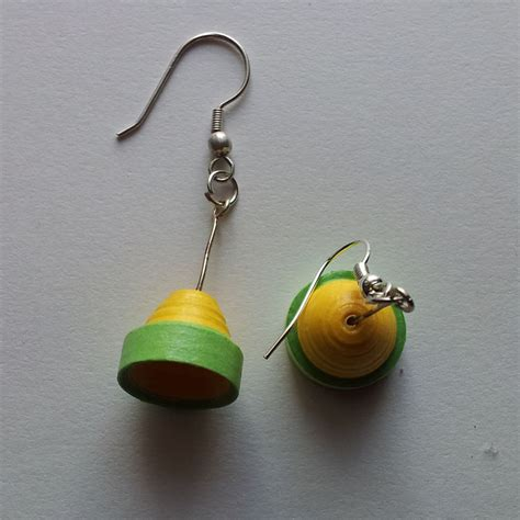 Paper Earrings - paper quilling bell shaped earring jewellery craft boutique