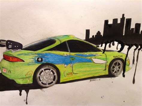 mitsubishi eclipse drawing brians mitsubishi eclipse from fast and furious drawing