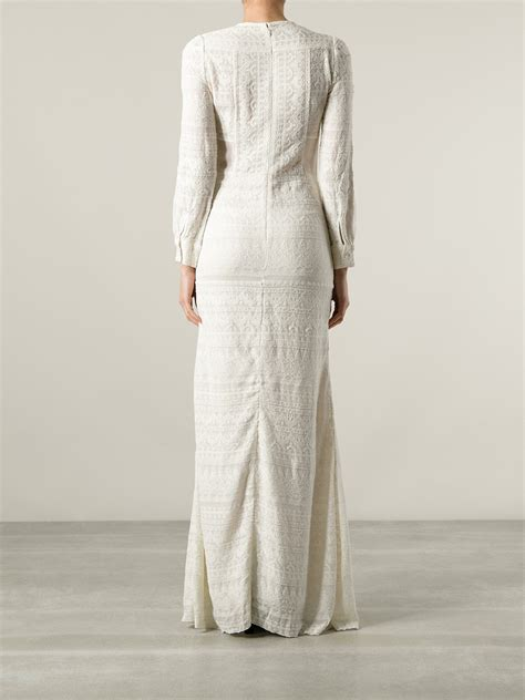 white pattern dress isabel marant embroidered pattern dress in white lyst