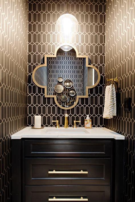 Modern Bathroom Vanities Toronto - toronto bathroom vanity lighting powder room transitional with gold and black wallpaper white