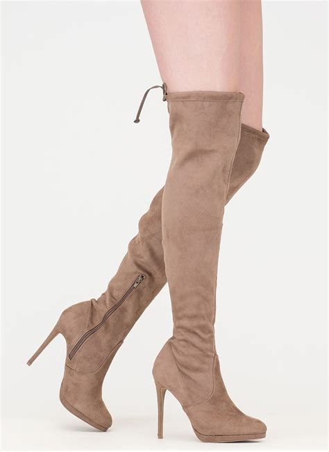 walking in thigh high boots made for walking thigh high boots black taupe gojane