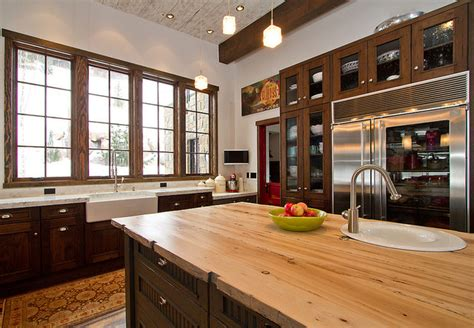commercial kitchen in mountain home rustic kitchen